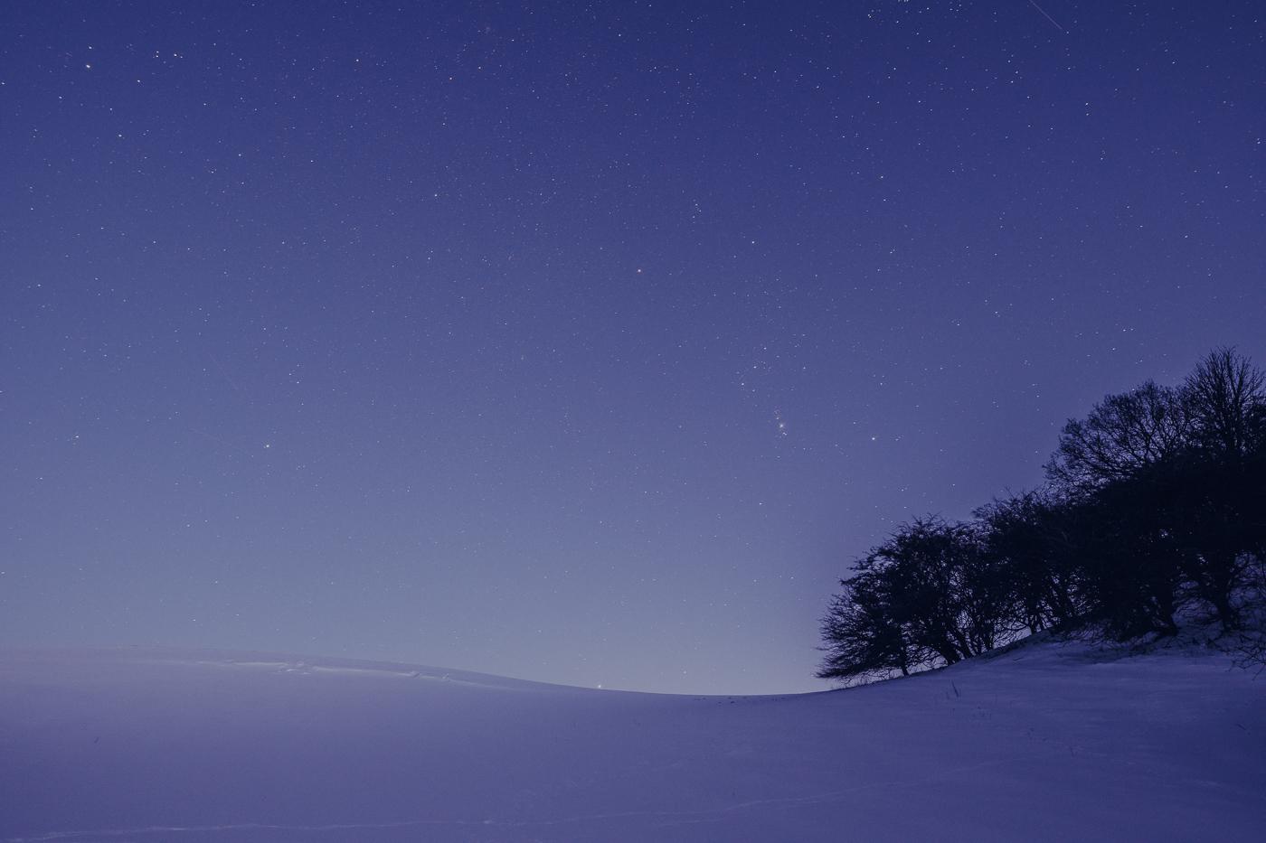 Eine sternenklare Winternacht auf dem Mönchgut